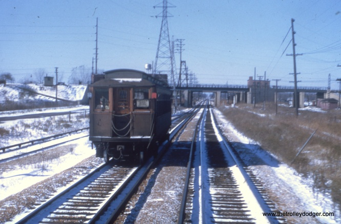 We are looking west, with the IHB crossing in the background. 25th Avenue would be behind us, and Madison Street is to our left. Here, the CA&E ran parallel to the CGW. The Illinois Prairie Path runs here now.