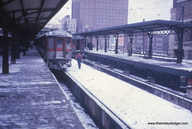 Silverliner 768 at the Milwaukee terminal. This slide was processed in January 1963, meaning this could be the last day.