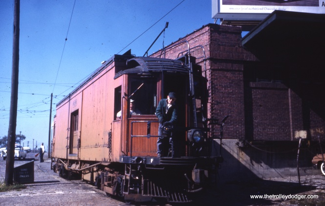 "Line car 606 at the Milwaukee terminal. According to Don's Rail Photos, ""606 was built by Cincinnati in January 1923, (order) #2620. In 1963 it became Chicago Transit Authority S-606 and burned in 1978. The remains were sold to the Indiana Transportation Museum."""