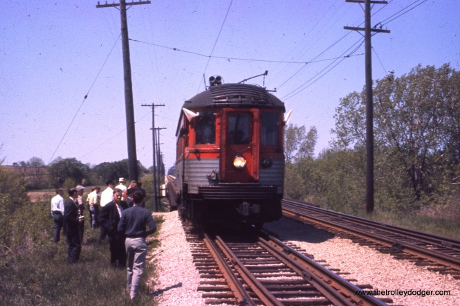 A photo stop on one of the many North Shore Line fantrips in later years.