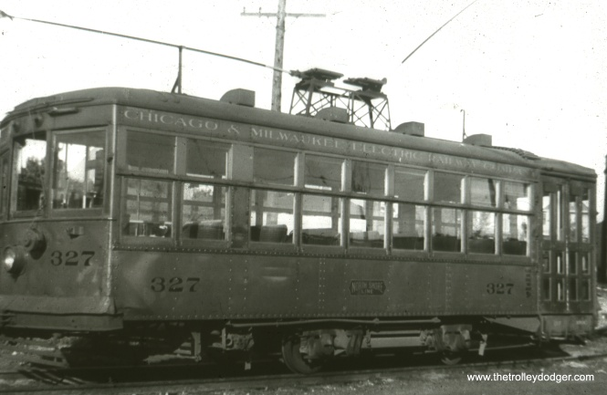 "According to Don's Rail Photos, ""(Birney) 327 was built by Cincinnati Car Co in December 1922, #2625. It was retired in 1947 and scrapped in April 1948."" They were lettered for Chicago & Milwaukee Electric since that was the franchise holder."