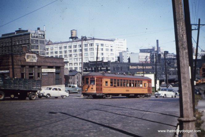 North Shore city streetcar 351 in Milwaukee prior to the abandonment of service on August 12, 1951. Sister car 354 is at the Illinois Railway Museum.