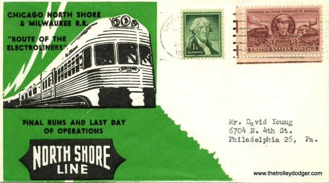 "You've probably seen ""first day of issue"" stamp covers before, but this is kind of the opposite. Some railfans mailed these commemorative envelopes to themselves on January 21, 1963, the day the North Shore Line finally passed into history."