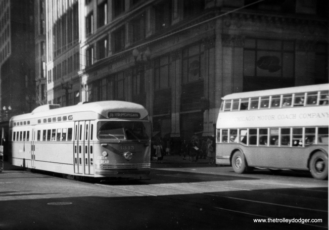 Even after the CSL and CRT were merged to from the Chicago Transit Authority in 1947, there remained another privately owned bus operator, the Chicago Motor Coach Company, who operated double-decker buses on some of their routes. CTA purchased the Motor Coach operations in 1952.