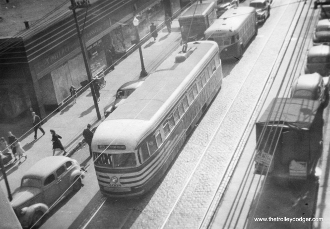 A prewar PCC on 63rd Street heading eastbound.