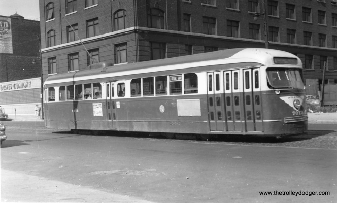 CTA 7013 on Wabash Avenue at 14th on August 6, 1954.