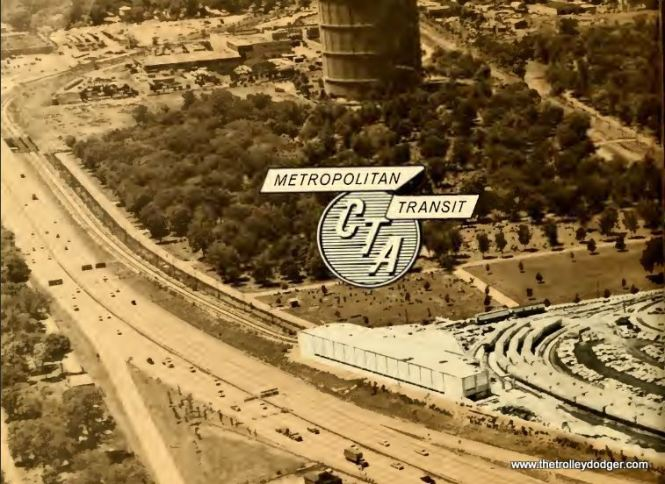 In this view, from the 1961 CTA annual Report, we see the western end of the DesPlaines terminal, and the relocated, never used CA&E tracks behind it.
