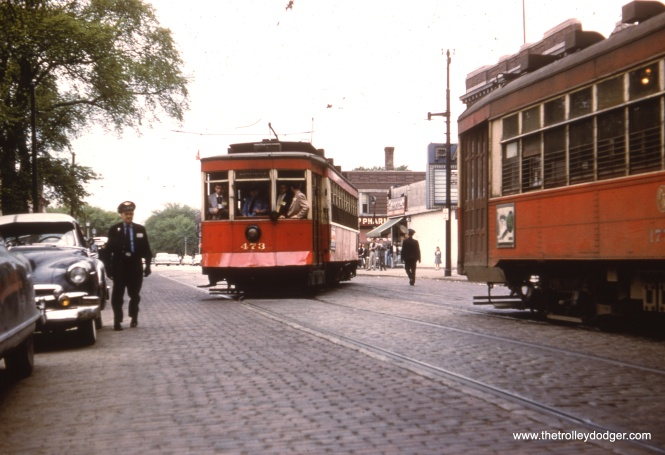 Red Pullman 473, on the famous May 16, 1954 CERA fantrip, turns back at Lake and Austin.