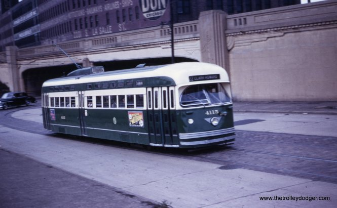 From the address on the Edward Don warehouse at rear, we can tell this picture of PCC 4115 was taken on Clark just north of Cermak.