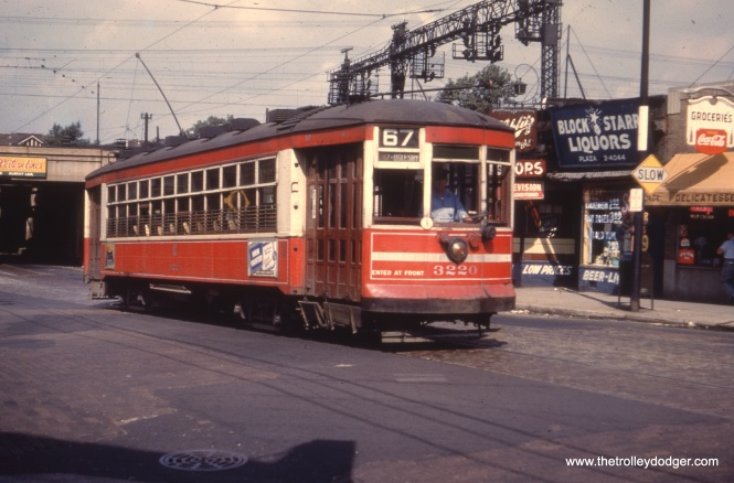 "Car 3220 on the 67th Street line. Bill Shapotkin adds, ""This picture is E/B in 67th St, having just x/o under the IC. View looks W-N/W."""
