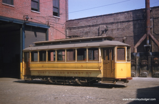 West Chicago Street Railway #4 was pulled out for pictures on May 25, 1958, the occasion of the final fantrip on Chicago's streetcar system.