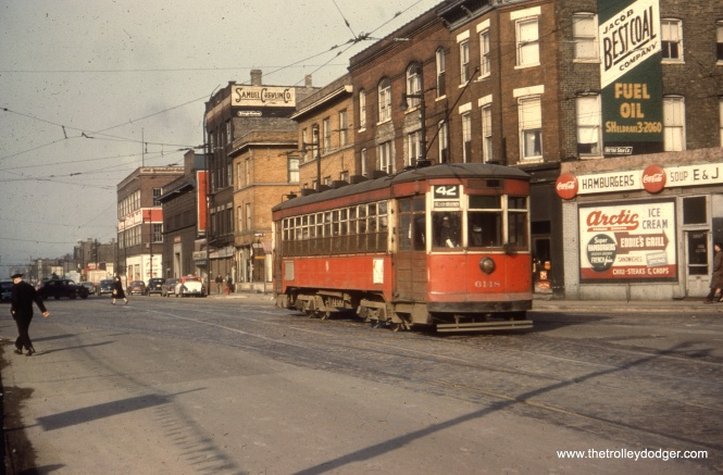 6148 at Halsted and Clark. The car is signed for route 42, Halsted-Downtown.