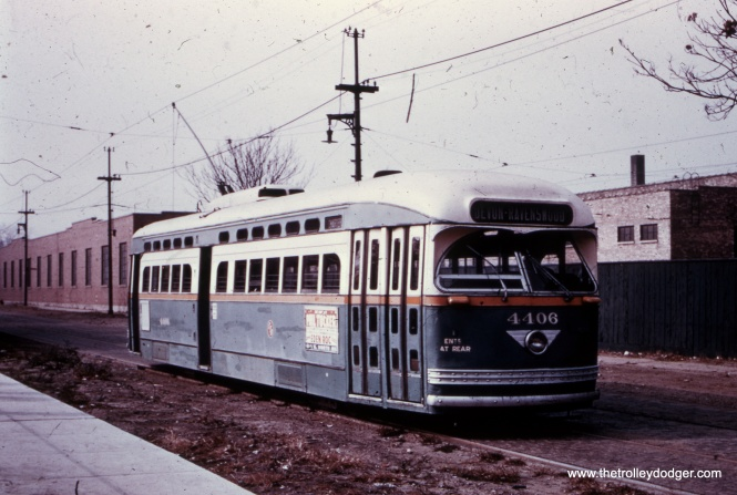 It's not the best slide, and hard to make out, but the signs say car 4406 is chartered and it is signed for Devon and Ravenswood.