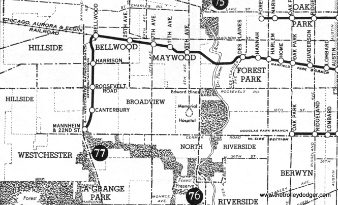 "The ""Westchester-Maywood"" route, from a 1948 CTA map."