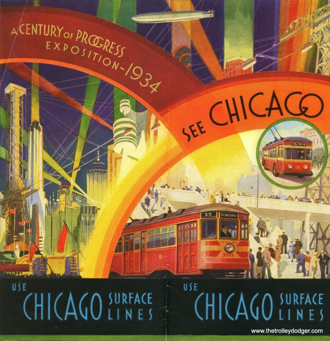 In this Chicago Surface Lines brochure, visitors were encouraged to see Chicago by streetcar, trolley bus, and, apparently, Zeppelin.