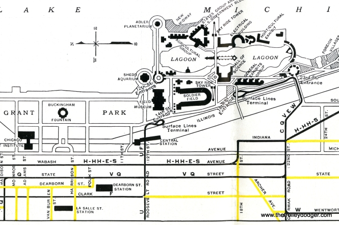 A CSL map showing how the Roosevelt Road and Cermak Road streetcar lines were extended to new loops serving A Century of Progress.