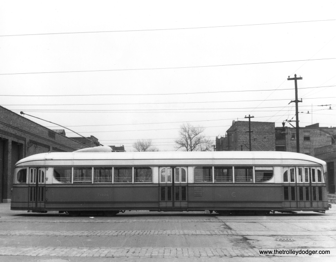 A side view of pre-PCC car 7001, showing how the general arrangement of doors was quite similar to that used on the later Chicago PCCs. (CSL Photo)