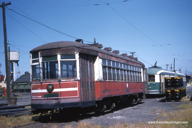 This must be car 3142, which was saved by ERHS and is now in operating condition at the Illinois Railway Museum. In this September 10, 1959 scene, there are still a few PCCs left on the property at South Shops, including car 4400. (Clark Frazier Photo)