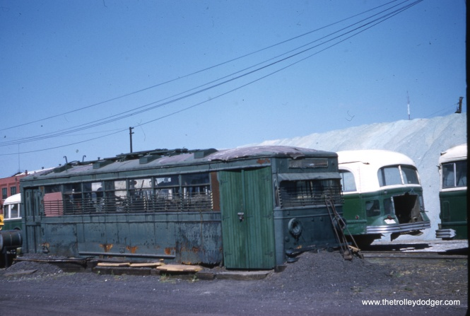 Not a streetcar, but an old trolley bus being used as a shed at South Shops on September 10, 1959. (Clark Frazier Photo)
