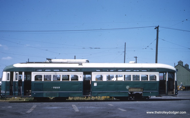 Car 7217, just prior to being scrapped, at South Shops on September 10, 1959. (Clark Frazier Photo)