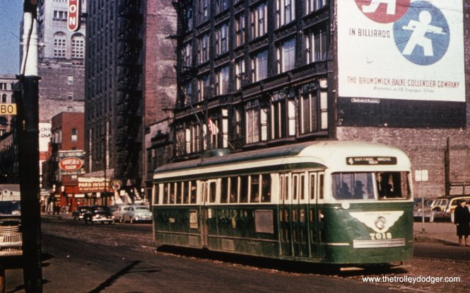 7018 heading south on Wabash at Balbo in the early 1950s.