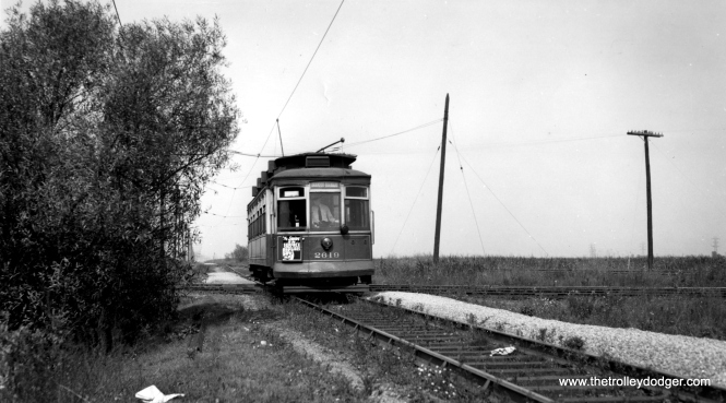 "Bob Lalich says, ""The photo of SB 2619 was taken near 130th St. The Brandon-Brainard line crossed two steam railroads near 130th St, the Calumet Western and the PRR-Calumet River line. The crossings were very close to each other as the junction between the Calumet Western and the Calumet River RR was a very short distance to the east. If you zoom in on the photo of 2619 in this blog you can see both crossings."" (Joe L. Diaz Photo)"