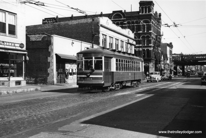 "CTA 3163 is westbound on route 72 - North Avenue in 1949, having just passed Halsted, on the first day of one-man operation. The ""L"" at rear is now known as the Ravenswood Connector. (William C. Janssen Photo)"