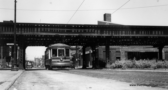 "Southbound car 3096 passes under the Metropolitan ""L"" main line at Racine and Tilden. Marshfield Junction would be a few blocks west of here. The Eisenhower expressway runs through here now. (Joe L. Diaz Photo)"