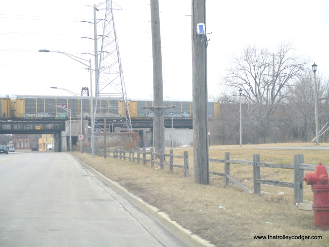 The Illinois Prairie Path, at right, follows the right-of-way of the Chicago, Aurora & Elgin interurban.