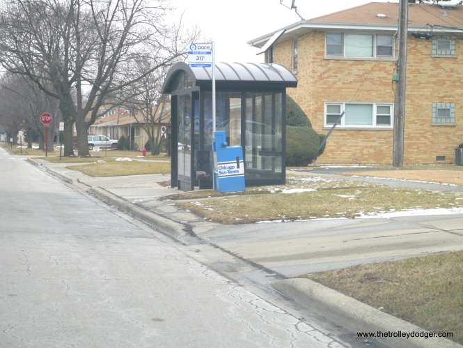 The #317 Pace bus stops at the exact location of the former Westchester rapid transit station at Canterbury.