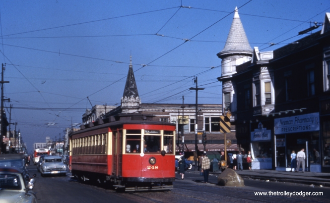 CTA 248 at 63rd and Ashland in May 1953, shortly before the end of streetcar service on route 63. Note the safety island.
