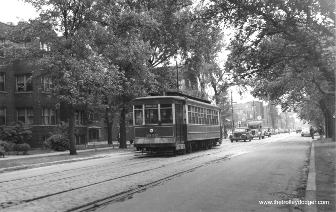 CTA 1052, with a CSL logo still on the side of the car, on Damen Avenue on June 5, 1948.