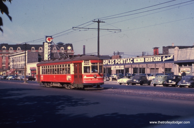 "CTA 1746 on route 58, passes People's Pontiac, then located at 3120-58 W. Ogden. The dealership later moved to 6060 N. Western, the same address as ""Z"" Frank Chevrolet."