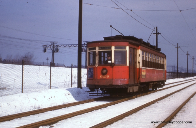 CTA 629 on that section of route 4 - Cottage Grove that parallels the Illinois Central electric.