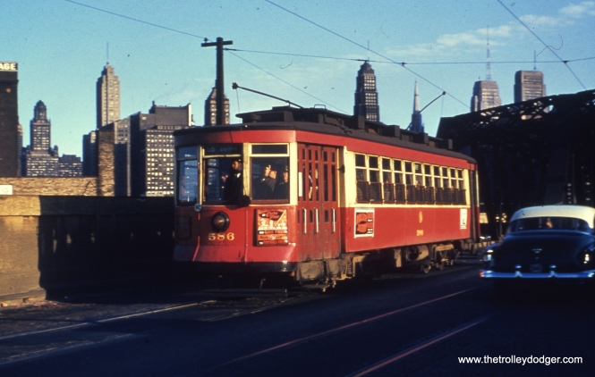 CTA 586 at Milwaukee and Canal on route 56 in October 1951. (Truman Hefner Photo)