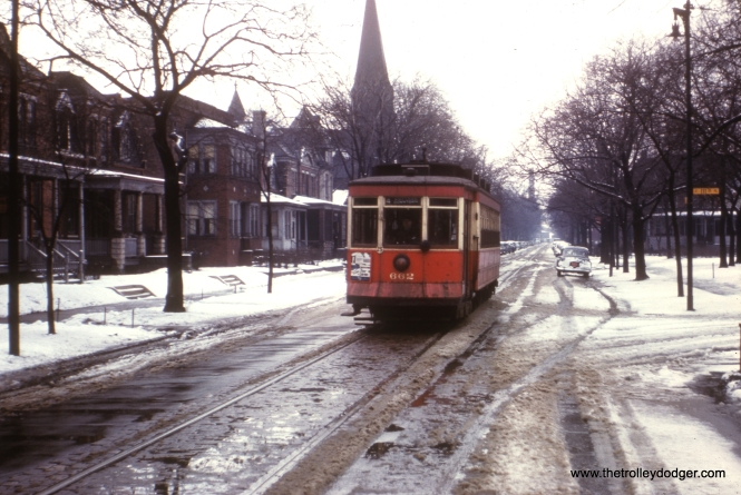 CTA 662 in the historic Pullman neighborhood, northbound at St. Lawrence and 111th Place, on route 4.  Thanks to George Foelschow for providing the correct location.
