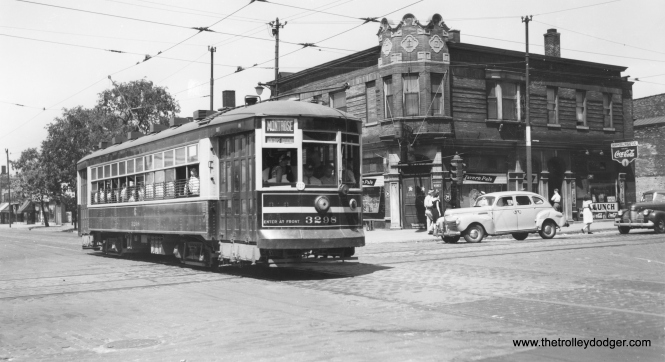 "CSL 3298 on route 78 - Montrose, possibly during WWII. By this time, the western portion of the route was handled by trolley buses. Andre Kristopans adds that this ""MIGHT be Montrose & Pulaski. Building on corner is heavily altered, but window arrangement does match."" Richard Poemape writes, "" the photo that you have for CSL 3298 on Route 78 - Montrose was taken at the intersection of Montrose and Clark. The building in the background is on the N/W corner."""