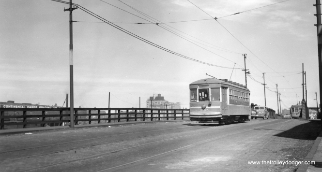 "CSL 3105. Bill Shapotkin says, ""Believe this car is westbound on 18th St approaching Canal Street. Note Continental Paper (left) -- still there and still getting rail service (by NS?). View looks east."" (Joe L. Diaz Photo)"