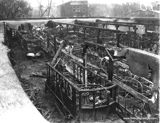 "December 2, 1936 - ""42 trolleys burn in $500,000 blaze. Forty two passenger and service trolley cars of the Chicago and West Towns Railway Company were destroyed when fire swept through the car barns in Oak Park, Ill., western suburb of Chicago. Busses will be used until the trolley cars can be replaced."""
