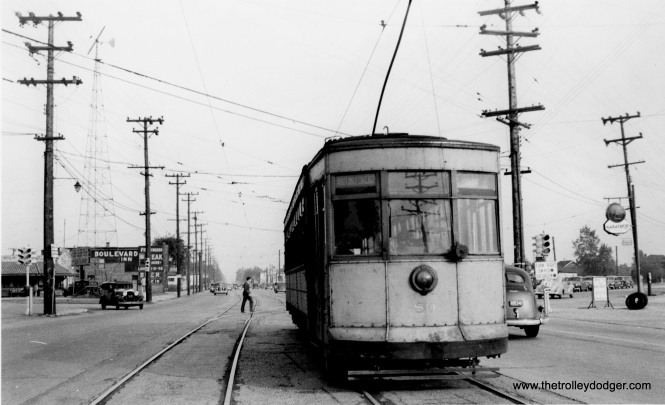 """Car 80 is in service on the Whiting-East Chicago route, a joint operation between CSL and Hammond Whiting & East Chicago Railway, later Calumet Railways, and eventually Chicago & Calumet District Transit Co. This service ended on June 9, 1940. Andre Kristopans notes, """"Sheffield ends about 121st or so where it merges into Calumet, Route was Indianapolis-Calumet-Sheffield-Gostlin-Hohman."""" Bob Lalich says, """"Car 80 is headed SE on Indianapolis Blvd at Sheffield."""" On the other hand, Andre Kristopans says we are at """"SB Indianapolis at Calumet."""""""