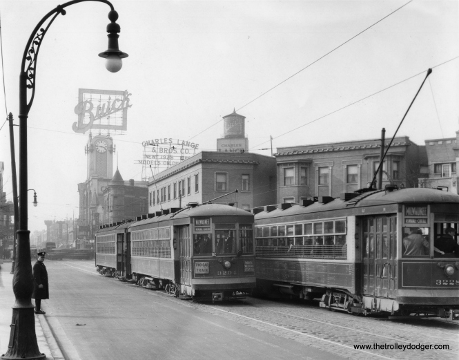 "CSL 3204-3206 and 3228 in 1928. Andre Kristopans gives the location as ""Milwaukee looking north at Logan Blvd, from middle of Logan Square. Very rare shot of trains."""