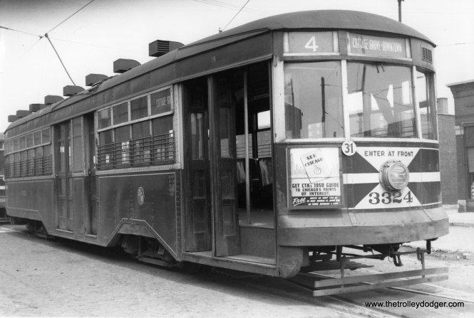 "One-man CTA ""sedan"" 3324 at Cottage Grove and 115th. (M. D. McCarter Collection)"