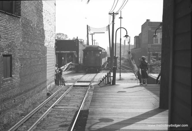 Image #807 shows an outbound Ravenswood train at Rockwell, circa 1949. The train has just descended a ramp from the Western station.