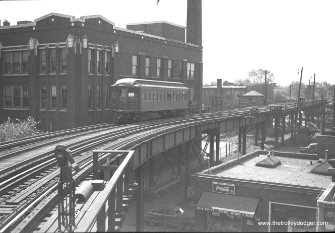 "Image #811, according to Andre Kristopans, shows a ""Normal Park shuttle between Harvard Englewood and Stewart Jct – appears inbound."" Edward Maurath notes that car ""223 was made by Jewett in 1902 for the South Side Line, then known as the ""alley L'."""