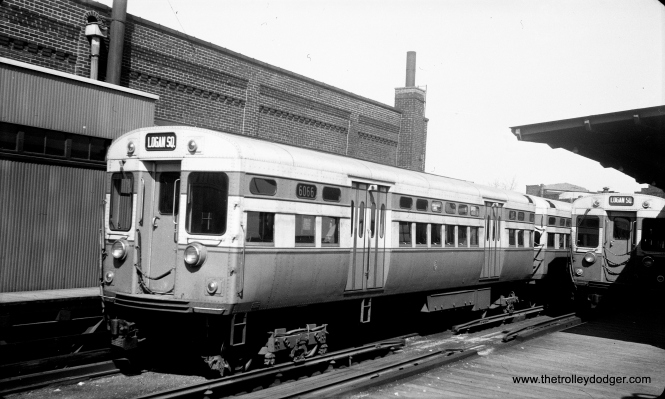 Image #818 shows CTA 6066-6067 at Logan Square terminal, most likely in the early 1950s. (Charles K. Willhoft Photo)