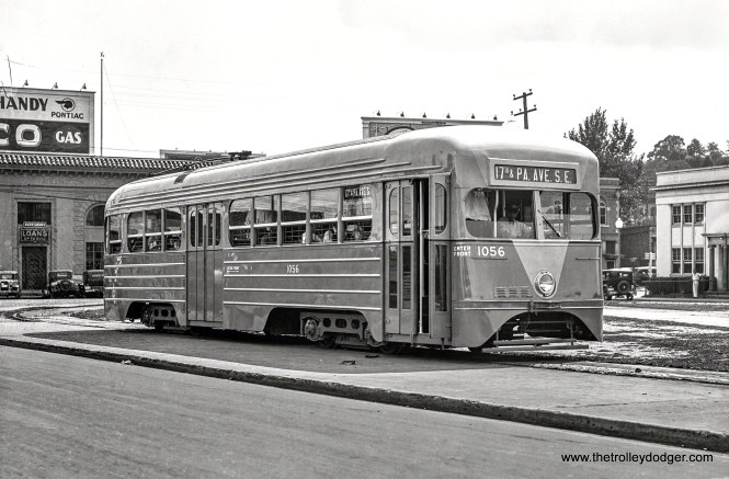 Capital Transit 1056, a product of the St. Louis Car Co., as it looked in 1935 when new.