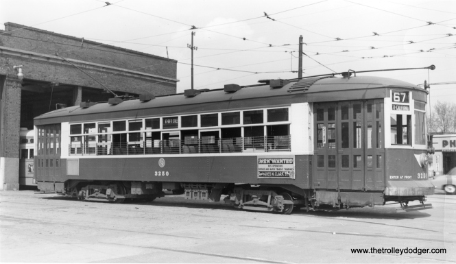 "CTA 3250. According to Andre Kristopans, we are at the ""70th St end of 69th carhouse."" (Robert W. Gibson Photo)"