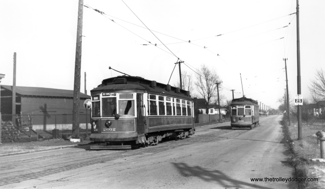 "Roy Benedict says, ""(CSL) cars 2602 and 2606 are meeting on 111th St. west of Morgan St. as confirmed by my onsite visit on May 25, 1996."""