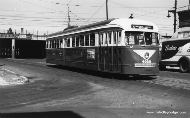 CTA 4026 is eastbound at 115th and Cottage Grove on June 6, 1952. (Thomas H. Desnoyers Photo)