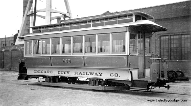 Chicago City Railway cable trailer 209 in October 1938. Supposedly built around 1892, it appears to be a replica fabricated by CSL in 1934 using some original parts. It is now preserved at the Illinois Railway Museum. (Alfred Seibel Photo)